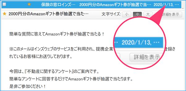 2020年1月13日インズウェブ2000円Amazonギフト券